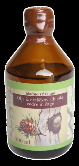 Olje iz sibirske cedre in čage – PREMIUM (100 ml)